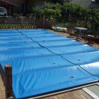 Biztonsági PVC fóliás medence takaró