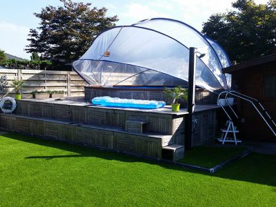 SunnyTent-kör alapterületű medencére M méret, buborékos medencefedés