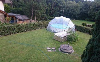 kör félig sülly medence buborékos medencefedés SunnyTent-07, kör buborékos medencefedés SunnyTent, buborékos medencefedés, ideális felfújható, fémpalástú, fóliás, pancsoló, barkácsáruházi medencék lefedésére