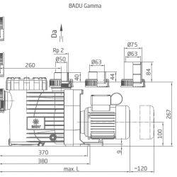 BADU Gamma 7-32 szűrőszivattyú ház méretek