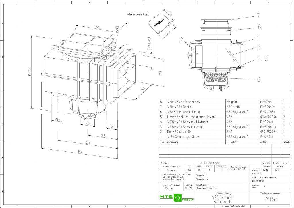 V20 szkimmer beton medencéhez, MTS német méretrajz 1921x1359