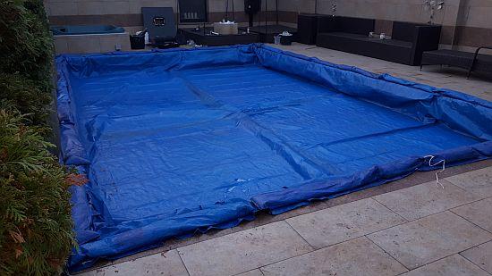 09 KISVÁRDA Alkorplan 3D kék mozaikmintás medence téliesítés télitakaró