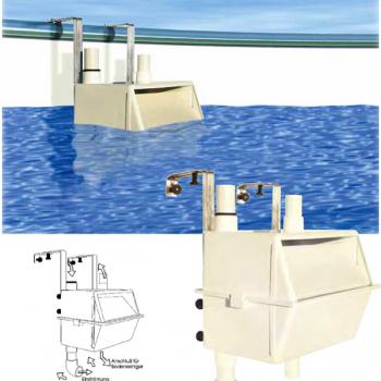 MTS EH2 utólagosan befüggeszthetô fölözô, fémpalástú medencékhez, barkács áruházi medencékhez, utólagosan kialakítható szkimmer medencékhez
