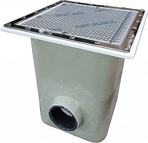 NORM ÜPE padlóürítő 515 x 515 -KO AISI-316 acél ráccsal 20076N 300x290