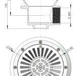 """Padlóürítő Ø210mm, ABS rácssal, fóliás medencéhez A padlóürítő anyaga fehér ABS, oldalán 2"""" belsőmenetes csatlakozással. Maximális áramlás: 13 m3/h. Padlóürítő Ø 210 mm, ABS rács 00271"""