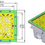 Padlóürítő négyzet alakú 210x210 folias méret rajz 273-274 02