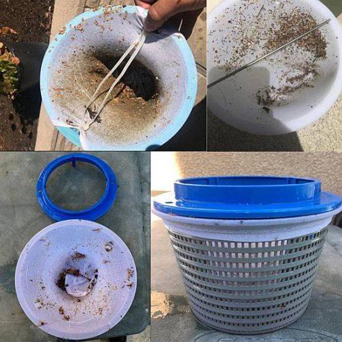 Szkimmer kosár szűrőharisnya, medencékhez használatos szűrőrendszerekhez, medenceszűrésre, a szkimmer durvaszűrőkosár tisztán tartására, a homoktartály szűrőhomok tisztán tartására