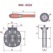 UP 80 Z1 - CLASSIC pillangószelep méret ábra D63-D225