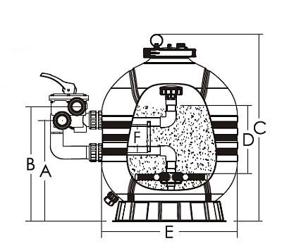 SIERRA MFS HDPE homokszűrő tartály méret rajz 400x356