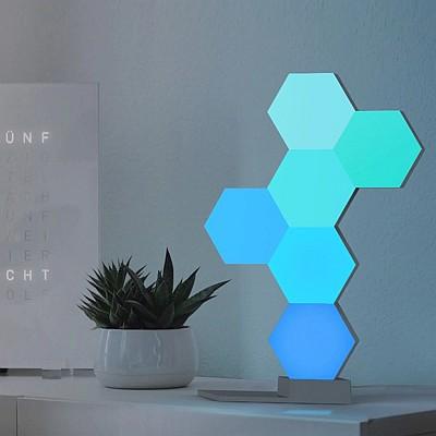 Lifesmart okos moduláris wifi világítás - 1,3 és 5 blokk aljzattal Díszvilágítás - aljzat és 3 blokk, designer tartozék, környezeti világítás, hatszögletű kialakítás, 19 LED-es blokk, könnyen telepíthető, bővíthető, iOS / Android alkalmazás, WiFi nélkül vezérelhető, 16 millió szín, Amazon Alexa kompatibilis, Google Home és Apple HomeKit