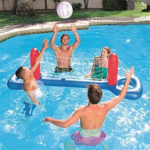 Vízi, felfújható játék, PVC röplabda kapu, műanyag nylon háló felnőtteknek és gyermekeknek, csakis otthoni felhasználásra, közösségi használatra nem engedélyezett PVC kapu, Nejlon háló, vízben, labdával együtt történő használatra tervezték