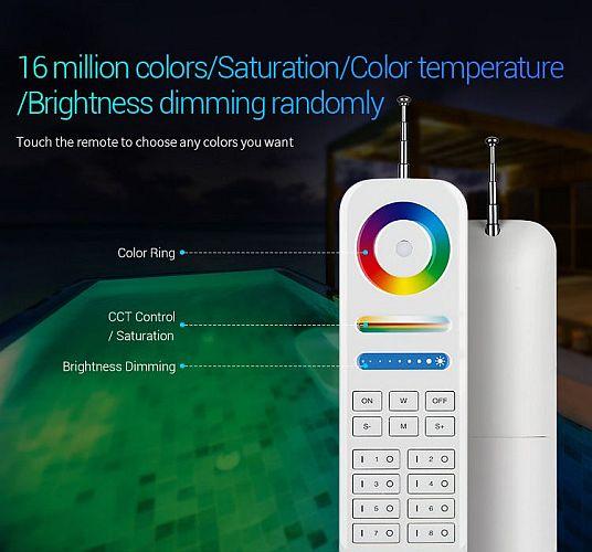 Mi-Light FUT086 433MHz távirányító SZÖKŐKÚT, medence VILÁGITÁS RGB - SZÍNVÁLTÓS