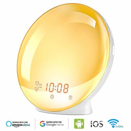 Színes napfelkelte ébresztőóra Intelligens hangalapú vezérléssel, Alexa, Google, Lynx vagy okostelefon App-al állítható/vezérelhető