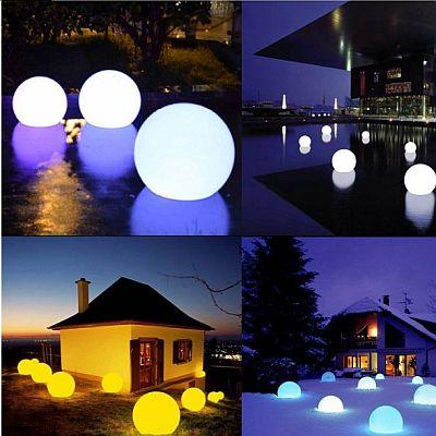 Kültéri, Dekorációs RGB színváltós, gömblámpa 25cm és 30cm-es átmérőben