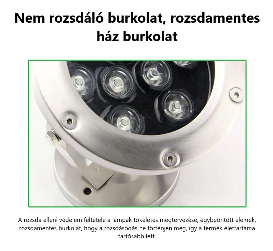 Rozsdamentes LEDES SZÖKŐKÚT VILÁGITÁS RGB - SZÍNVÁLTÓS