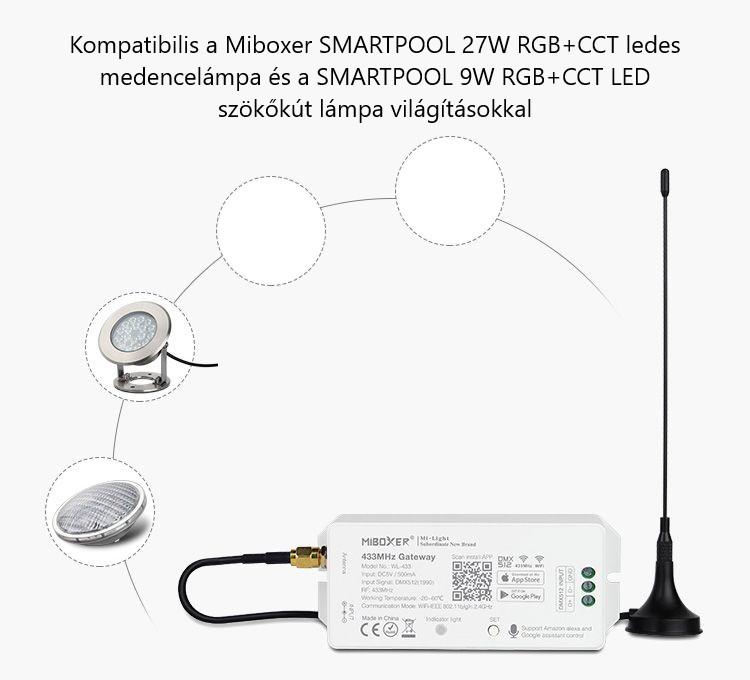 Mi-Light WL-433 433MHz Gateway szökőkút, medence világítás vezérlő RGB - okos medence vezérlő