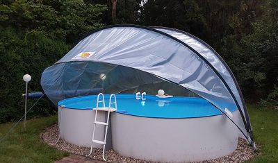 OVAL buborékos medencefedés SunnyTent, medencetakaró, ideális felfújható, fémpalástú pancsolók és kisebb méretű ovális formájú medencék takarására
