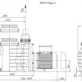 Badu Magic II 4-6-8-11m3/h teljesítményű szivattyúház méret ábra