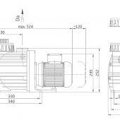 BADU TOP II (Bettar) szűrőház méret rajz méretekkel, 30-90m3-es privát úszómedencékhez ajánlott szűrőszivattyú, 8-11 és 14m3/h teljesítményű medence szivattyú, keringtető szivattyú