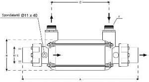 Hőcserélő D-KWT-VA Plastic SS316 25 kW - 45kW - 85kW - 105kW rajz