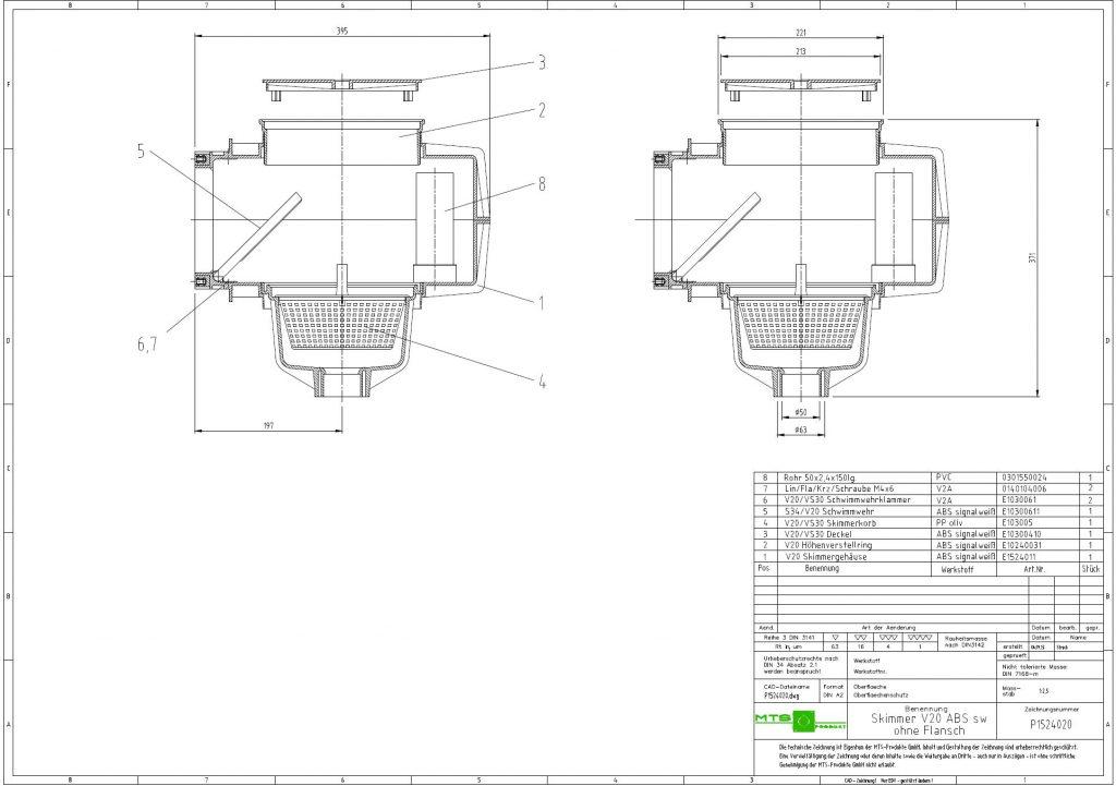V20 szkimmer beton medencéhez, MTS német oldal méretrajz 1926x1356