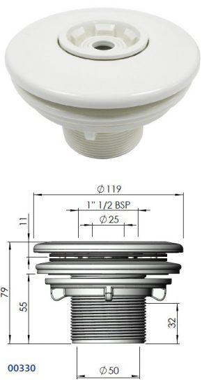 ASTRAL Menetes befúvó fóliás MULTIFLOW 2coll külső menet kontra anyával, D50mm belső ragasztható 00330 méretrajz 430x770