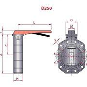 UP 80 Z1 - CLASSIC pillangószelep méret ábra D250