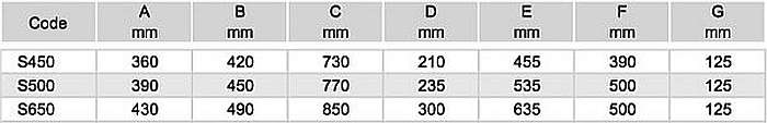 Sierra homoktartályok, szűrőtartályok S450-700 mérettáblázat 700x113
