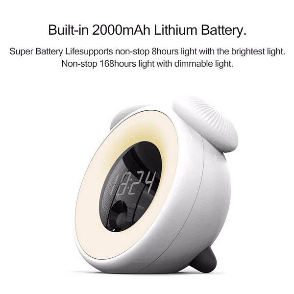 éjszakai ébresztőóra gomba napfelkelte szimulációval 18 beépített akkumulátor információ