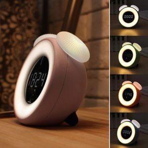 Digitális gombaformájú ébresztőóra, naplemente szimulációval