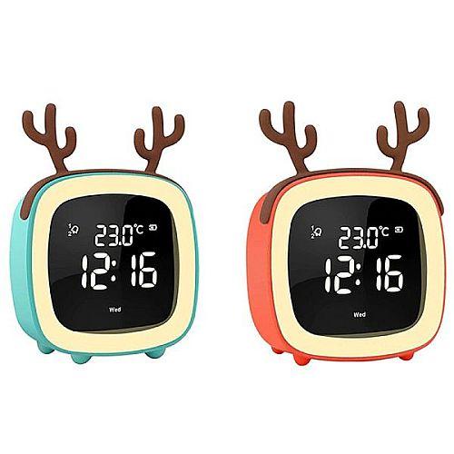 2019-es digitális, TV éjszakai lámpa, ébresztőóra, LED-kijelzővel, hőmérséklet mutatóval, többfunkciós órával, éjjeli négyzet alakú, cuki formájú kifejezetten gyermekek részére, ajándéknak, szülinapra, névnapra, karácsonyra, többféle választható kiegészítő fülekkel