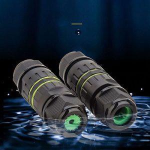 Vízálló csatlakozó, IP68 dugó/aljzat, 2 pól, Vízálló kábelcsatlakozó kapszula M25, 3PIN,1.0mm²-6.0mm² , kábel átmérő 5-14mm