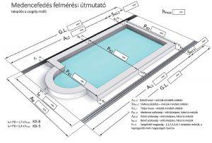 Polikarbonátos medencelefedés, téglalap formájú + külső belépőlépcső medencére, méretezés