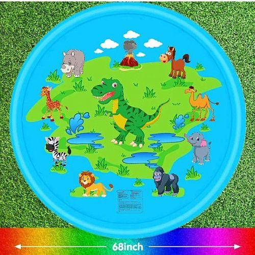 kék színű gyerek szökőkút dinoszauruszos figurákkal, párakapu, locsolószűnyeg, gyerek kerti szökőkút