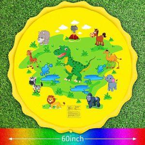 sárga színű gyerek szökőkút dinoszauruszos figurákkal, párakapu, locsolószűnyeg, gyerek kerti szökőkút