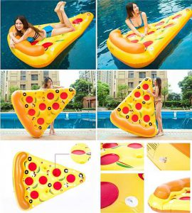 Felfújhatós pizza formájú, PVC strandmatrac 2020 modell választék, strandoláshoz, házi medencefürdőzéshez, baráti összejövetelekre, napozáshoz