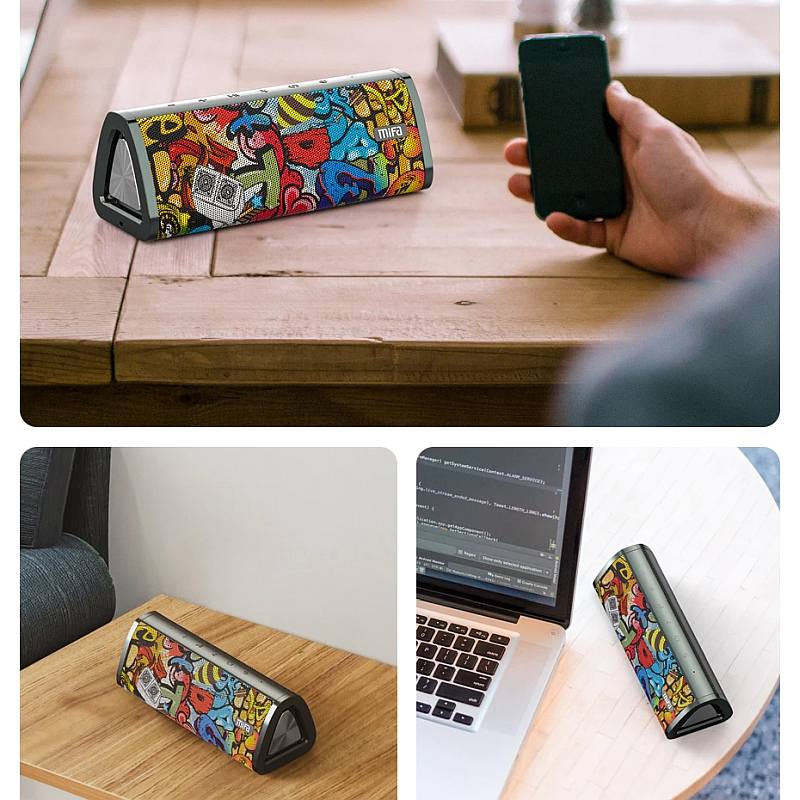 Mifa A10+ Víz és esőálló Bluetooth hangszóró graffiti art 2020 modelév, IPX7 vízálló Bluetooth hangszóró