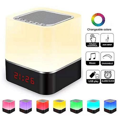 Donwei RGB ébresztőóra, blokk lámpa, DONWEI újratölthető RGB LED beltéri éjszakai lámpa, DONWEI újratölthető RGB LED beltéri éjszakai lámpa, ébresztőóra, Bluetooth, USB, mp3 lejátszás, Pendrive, 3,5mm Jack Audio slot,