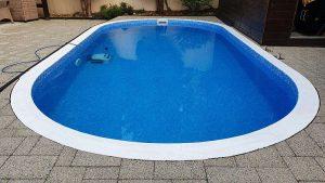 Miskolctapolca, Elbtal Blue medencefólia, kék márványmintás fóliás medence burkolása, meglévő PP medence átalakítása