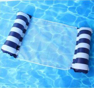 Felfújhatós, csíkos PVC medenceszék, matracfotel csikos sötétkék-fehér 2021 modell
