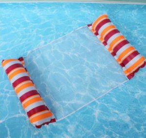 Felfújhatós, csíkos PVC medenceszék, matracfotel csikos narancs-fehér-bordó 2021 modell