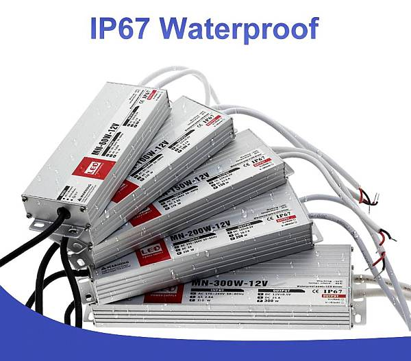 Medencelámpákhoz IP67 vízvédett transzformátorok,TRANYITON 60-300W Led tápegység IP67 vízálló, kötetlen, led trafók